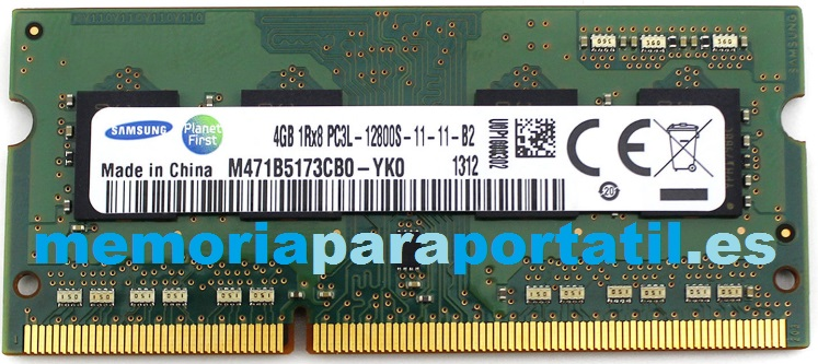 4GB DDR3L PC3L-12800 SODIMM 1600MHz 204 pines 1,35V CL11