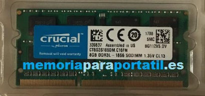 8GB DDR3 PC3-14900 SODIMM 1866MHz 204 pines 1,35V CL13