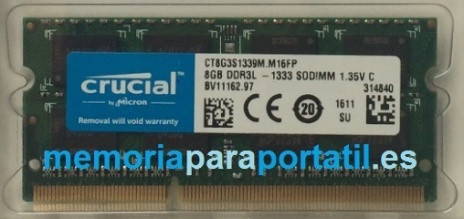 8GB DDR3 PC3-10600 SODIMM 1333MHz 204 pines 1,5V CL9